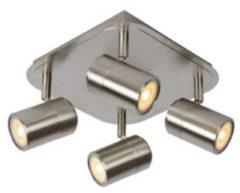 Lucide LENNERT - Plafondspot - LED Dimb. - GU10 - 4x5W 3000K - Mat chroom