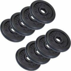 Zwarte ScSPORTS® 20 kg Halterschijven set - gewichten - gietijzer - 30 mm - 8x2,5 kg