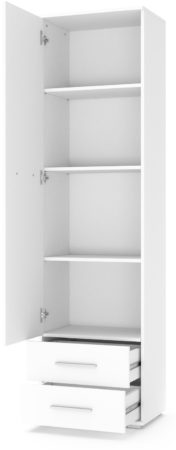 Afbeelding van Home Style Kledingkast Lima 60 cm breed in hoogglans wit