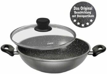 Wok met glazen deksel Stoneline grijs/zwart