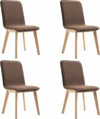 Merkloos / Sans marque Eetkamerstoelen Stof Bruin 4 STUKS / Eetkamer stoelen / Extra stoelen voor huiskamer / Dineerstoelen / Tafelstoelen / Barstoelen