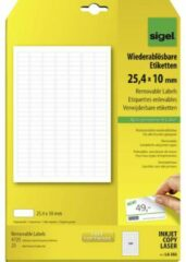 Sigel LA202 Etiketten 25.4 x 10 mm Papier Wit 4725 stuk(s) Weer verwijderbaar Universele etiketten 25 vel DIN A4