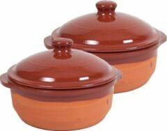 Merkloos / Sans marque 2x Stenen ovenschalen met deksel bruin 20 cm - Terracotta ovenschalen/braadpannen - pannetjes voor 1 persoon
