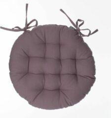Atmosphera DELUXE stoelkussen rond taupe - ronde stoelkussens - D38 cm - Met 2 lintjes
