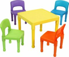 BlinQ Kinder multi-gekleurde tafel en 4 stoelen set (8809N)