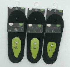Zwarte Inter socks Invisible sok Zomer Multipack 6 paar Kousenvoetje Maat 39-42
