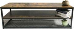 Bruine VDD Industrial Vintage Design TV meubel kast Stoer industrieel dressoir 140 cm breed zwart metaal frame