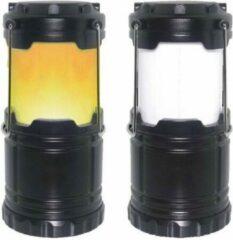 Zwarte Benson Led Campinglamp op batterijen met wit licht en flame effect