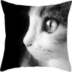 Dierenkussens Dieren kussenhoes kat - Black and White - Sierkussen - 45x45 cm