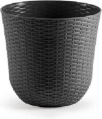 Forte Plastics 2x Grijze plantenbakken/bloempotten 25 cm - Woon/tuinaccessoires/decoratie - Ronde bloempotten/plantenpotten voor binnen/buiten