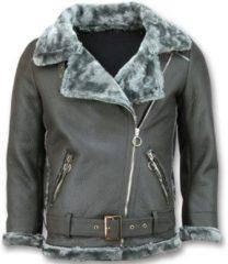 Grijze Leren Jas Z Design Imitatie Lammy Coat
