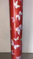 Rode MTis Cadeaupapier: Opruiming C3267 Vlinders- Breedte 70 cm - 150m lang - C3267-70cm