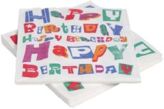 Witte Cosy&Trendy 'Happy Birthday' verjaardag servetten 33 x 33 cm - Set-20