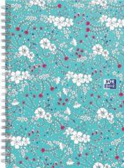 Oxford Floral - schrijfblok - B5 - Ruit 5mm - 120 pagina's - hardcover notitieboek - turquoise