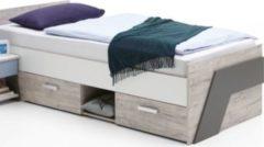 Bett 90 x 200 cm Sandeiche/ weiss/ lava FMD Nona 1