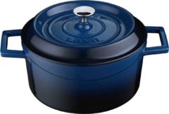 Blauwe LAVA Trendy Casserole rond - 24 cm - 4.49Ltr - Blue/Black