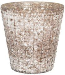 Clayre & Eef Glazen Theelichthouder 6GL2977 Ø 14*13 cm Bruin Glas Rond Waxinelichthouder Windlichthouder