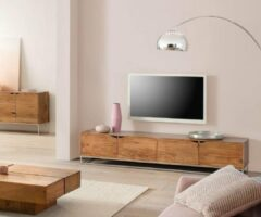 Naturelkleurige DELIFE Tv-meubel Loca acacia natuur 200x40x40 cm massief hout
