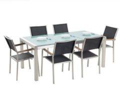 Beliani Tuinset matglas/RVS driedelig tafelblad 180 x 90 cm met 6 stoelen zwart GROSSETO