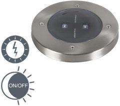 Grijze Ranex Smartwares 5000.389 - Buitenlamp op zonne energie met sensor/bewegingsmelder - 2 lichts - 120 mm - staal