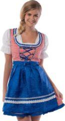Rode Partychimp Boeren Tirol & Oktoberfest Kostuum | Hilda Hefe Bierfeest Dirndl Blauw | Vrouw | Maat 42 | Bierfeest | Verkleedkleding