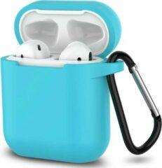 JVS Products Apple Airpods 1 en 2 ultra dunne siliconen cover - Hoesje - extra dunne Apple Airpods siliconen cover met sleutelhanger - Lichtblauw