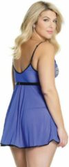 Blauwe Coquette (All) Babydoll & G-String - Blue/Black - Queen Size - Lingerie For Her - Babydoll