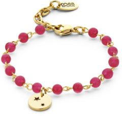 CO88 Collection 8CB-90051 - Natuurstenen armband met bedel - Agaat 4 mm en sterretjes bedel - lengte 16 + 3 cm - roze / goudkleurig