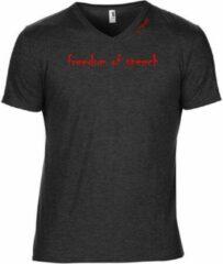 Zwarte G-TOWN Semi fit Freedom Of Speech Heren T-shirt Maat L