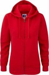 Russell Dames Premium Authentieke Hoodie met rits (3-laagse stof) (Klassiek rood)