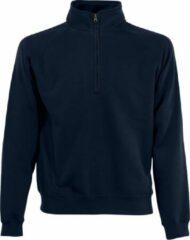 Zwarte Fruit of the Loom Navy blauwe fleece sweater/trui met rits kraag voor heren/volwassenen - Katoenen/polyester sweaters/truien 2XL (EU 56)