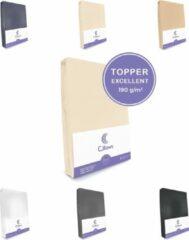 Creme witte Cillows Excellent Jersey Hoeslaken voor Topper - 160x200 cm - (tot 5/12 cm hoogte) – Creme