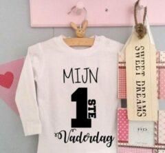 Merkloos / Sans marque Baby shirtje jongen meisje tekst voor papa mijn eerste vaderdag | lange mouw T-Shirt | wit zwart | maat 98 | leukste kleding babykleding cadeau verjaardag
