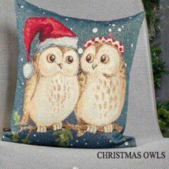 Blauwe Emme Kussenhoes Christmas Owls - Kerst uilen - Met glitterdraad