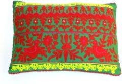 Groene Only natural FT 094336 Kussen Katoen, Borduursels Gro