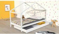 Autre KOALA Kinderbed met lade - Massief grenenhout - Wit - Inclusief bedstructuur - 90x190cm