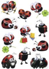 Grijze HERMA 3386 Stickers DECOR grappige Lieveheersbeestjes, 3 vel