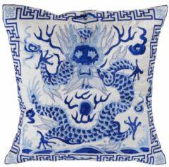 Blauwe Fine Asianliving Chinese Kussen Volledig Geborduurd Wit Draak 40x40cm Zonder Vulling