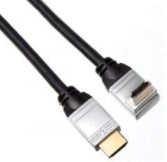 Zilveren Velleman HDMI male naar HDMI male haaks - Zwart - 1.5 meter