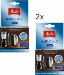 Melitta anti calc tabs - 2 verpakkingen a 4st - ontkalkingstabletten ontkalker voor filter koffiezetapparaten en waterkokers
