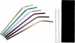Paarse Sarzor RVS rietjes - 6 stalen rvs rietjes - 2 schoonmaak borstels - Kleuren - 21 cm - Duurzaam en stijlvol