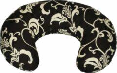 Merkloos / Sans marque Voedingskussen - Zwangerschapskussen - 100% katoen - 80 cm - bruin met crème blaadjespatroon
