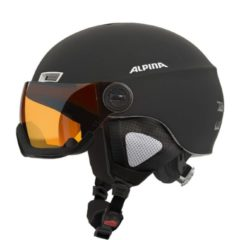Zwarte Alpina Menga JV ski helmet with Visor, Matt Black
