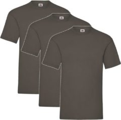 Bruine 3 Pack Shirts Fruit of the Loom Ronde Hals Chocolate Maat L Valueweight