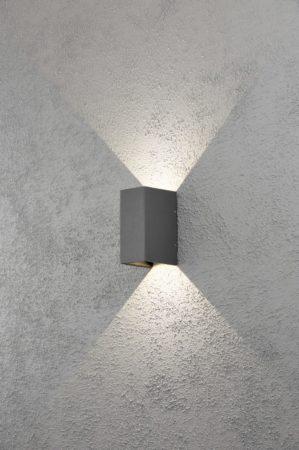 Afbeelding van Antraciet-grijze Konstsmide 7940 - Wandlamp - Cremona LED 2x 3W wandl flush verstelb 230V 3000K - matzwart