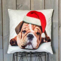 Lekker Zacht Kerst Kussenhoes - Hond met Kerstmuts