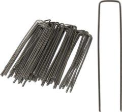 Grijze Relaxdays gronddoekpennen 50 st. - grondanker - haring - gronddoekhaak - grondhaken - 2mm