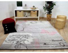 Designer Teppich Sevilla Klassik Grau Rosa Schmetterling Pergamon Grau
