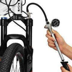 Zilveren Decopatent® MINI Fietspomp met drukmeter en 360° Slang - High Pressure 300 PSI - Mini Bike Pump - Hand Fietspompen Racefiets Mtb