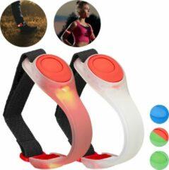 Relaxdays led armband - hardloop armband - 2 stuks - joggen veiligheidslicht - knipperend rood